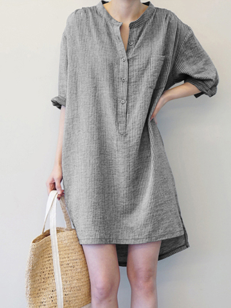 Women Vintage Striped Button Long Sleeve Shirt Mini Dress