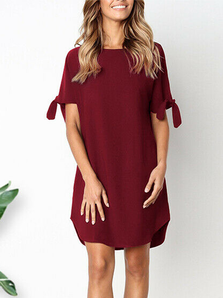 Solid Color Irregular Hem Strap Design Casual Loose Dress