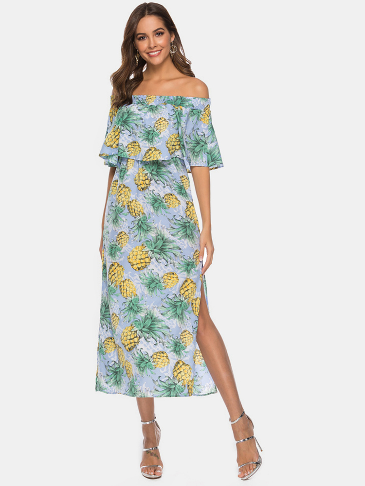 Women Off Shoulder Floral Print Split Causal Midi Dress