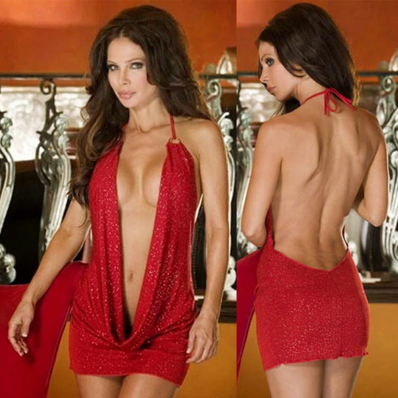 Sexy Women Sheath Deep V Neck Short Mini Dress Babydoll Nightwear Sleepwear Clubwear Backless Slim Fit One Size Mini Dress