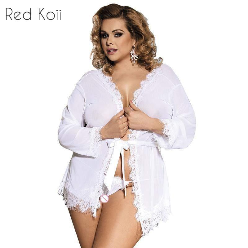 High-end Packaging Lace Trim Robe Lingerie