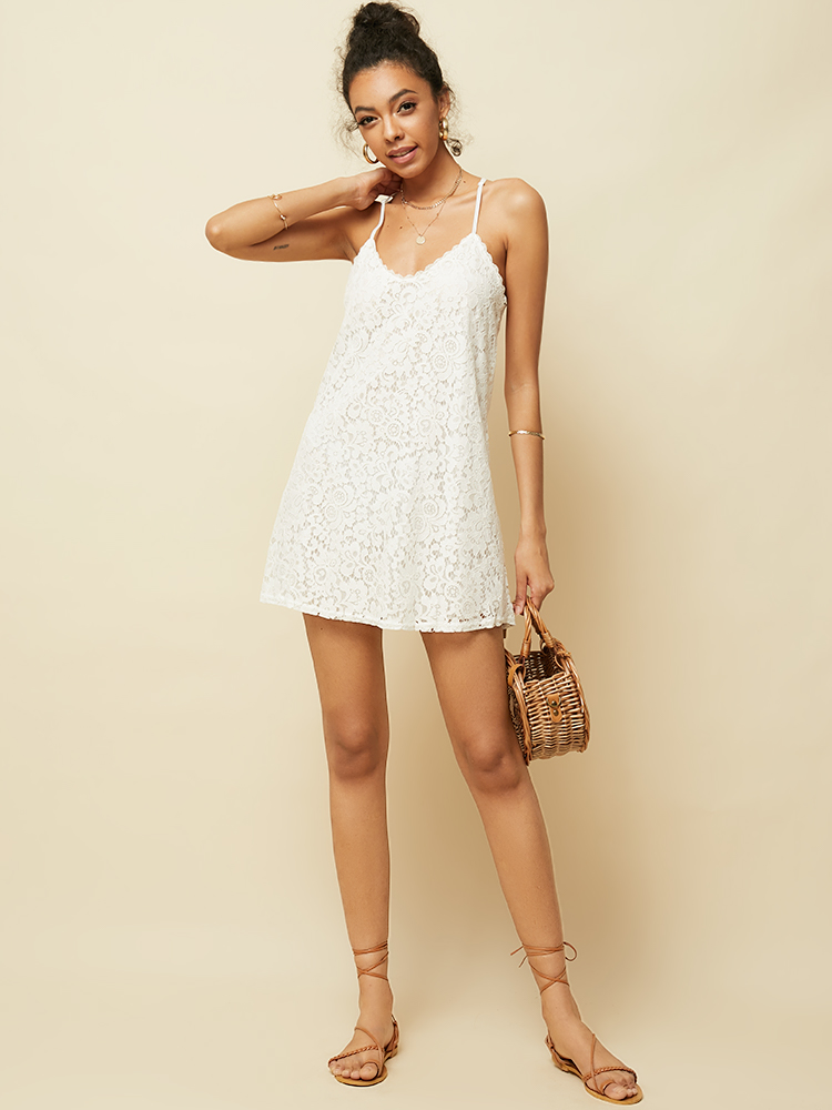 Women Casual Sleeveless Straps V-neck Lace Irregular Hem Midi Dress