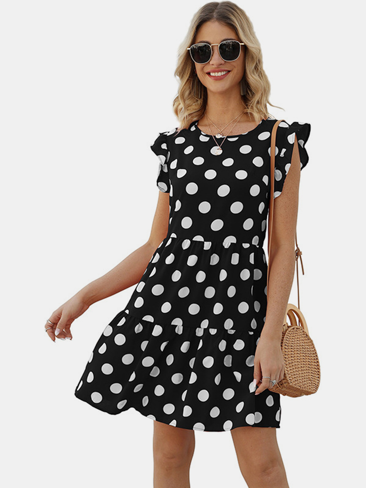 Polka Dot Print Crew Neck Short Sleeve Summer A-line Mini Dress