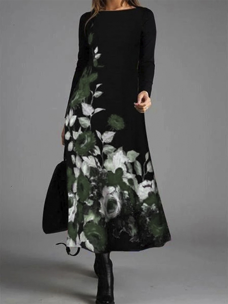 Women Floral Print Round Neck Long Sleeve Casual Maxi Dresses