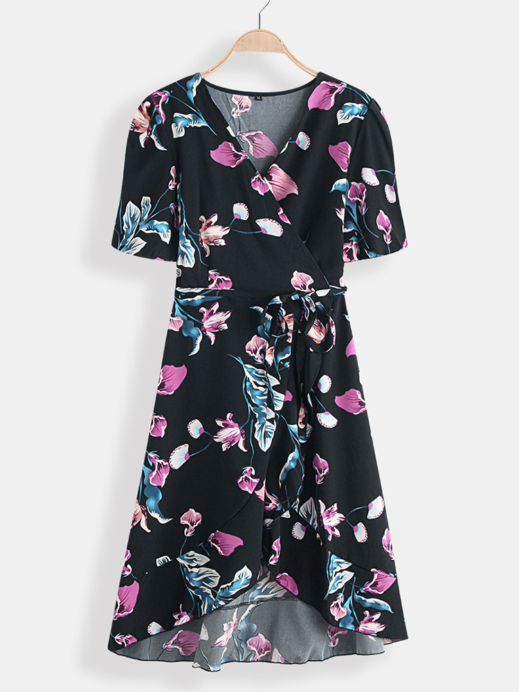 Summer Floral Print V-neck Short Sleeve Waist Tie Causal Midi Dress