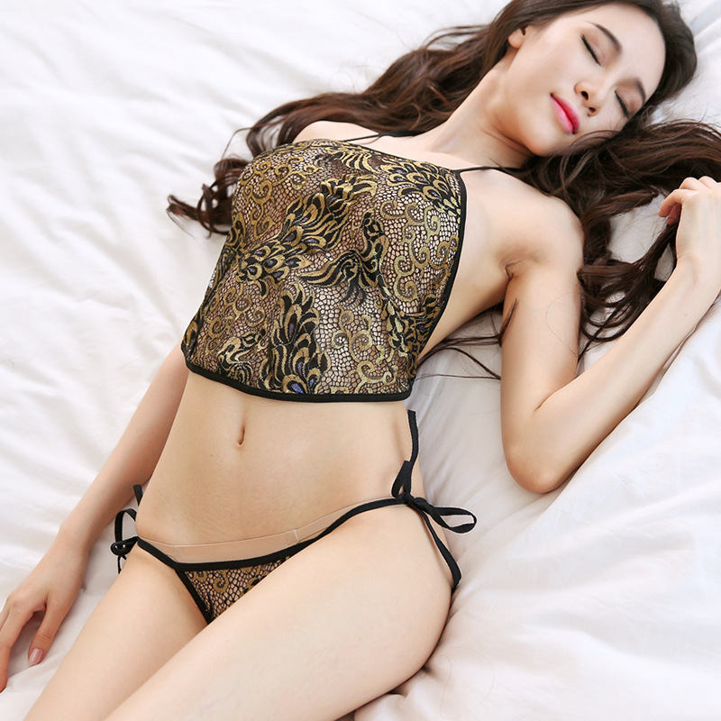 Sexy Underwear Belly Pocket Perspective Lace Adult Suit