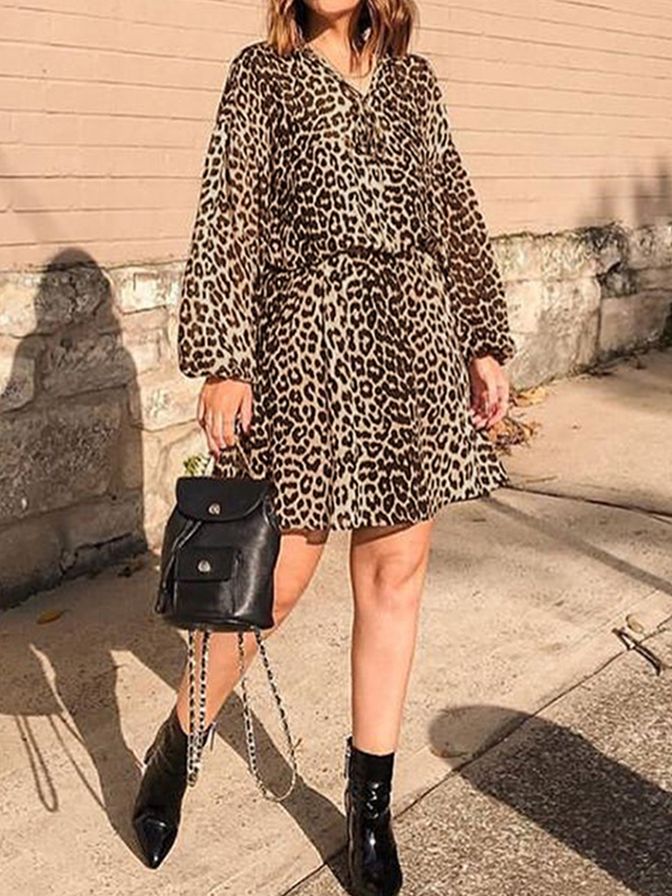 Women Leopard Print Lantern Sleeve V-Neck Casual Dress