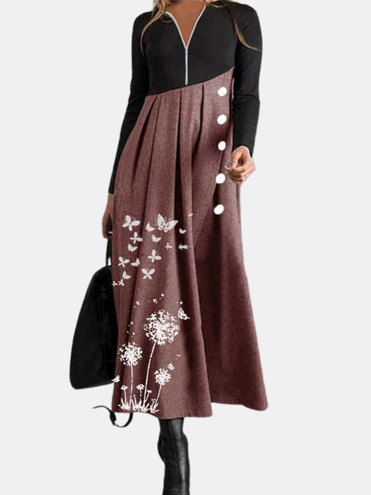 Women Contrast Patchwork Butterfly Print V-Neck Zip Long Sleeve Casual Maxi Dresses