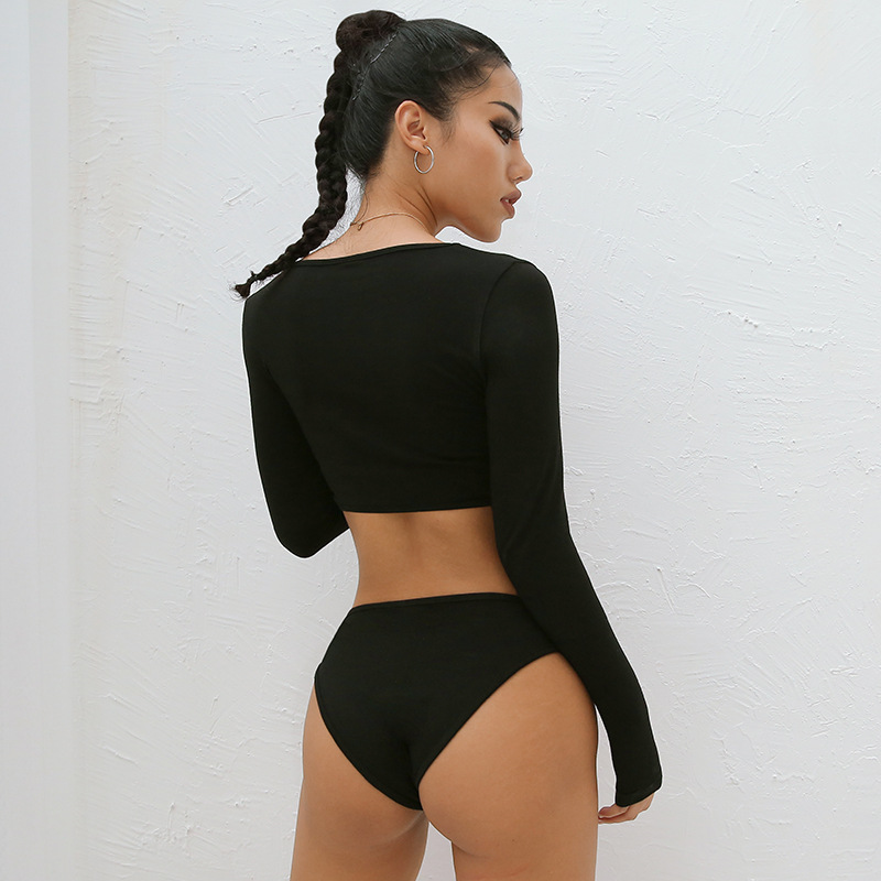 AliExpress explosions Europe and the United States 2020 autumn new sexy lingerie sexy ring hollow waist body shaping onesies