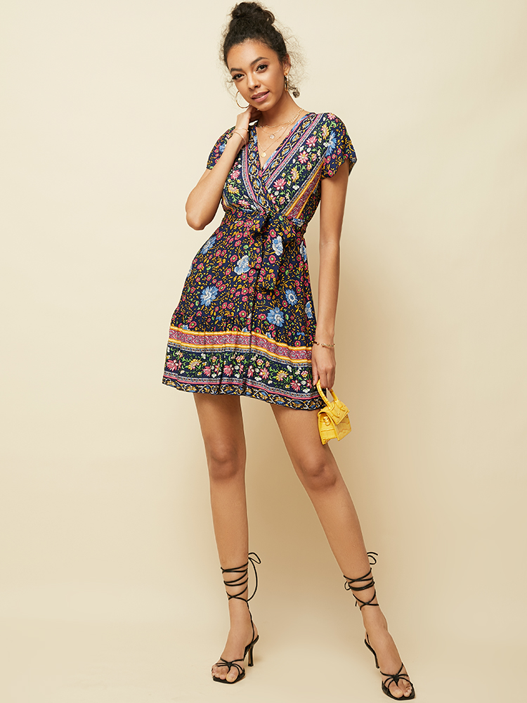 Short Sleeve V Neck Print Summer Holiday Mini Dress