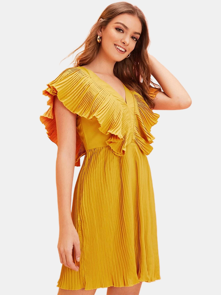 Solid Color V-neck Backless Pleated Casual Dress