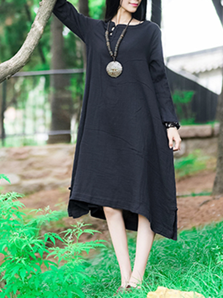 S-5XL Pure Color Asymmetric Dress