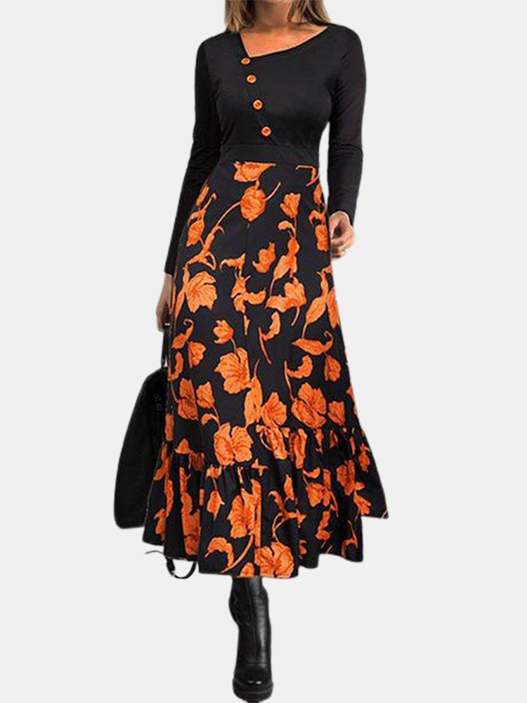 Women Slim Floral Print Button Long Sleeve Elegant Maxi Dresses