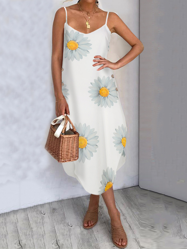 Hawaiian Style Holiday Small Daisies Print Irregular Hem V-neck Sling Sleeveless Midi Dress