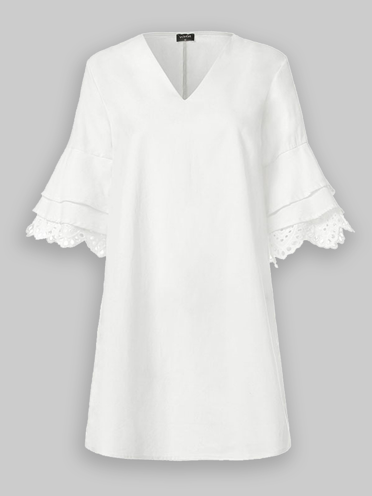Solid Color Lace Ruffle V-neck Half Sleeve V-neck Casual Dress For Women