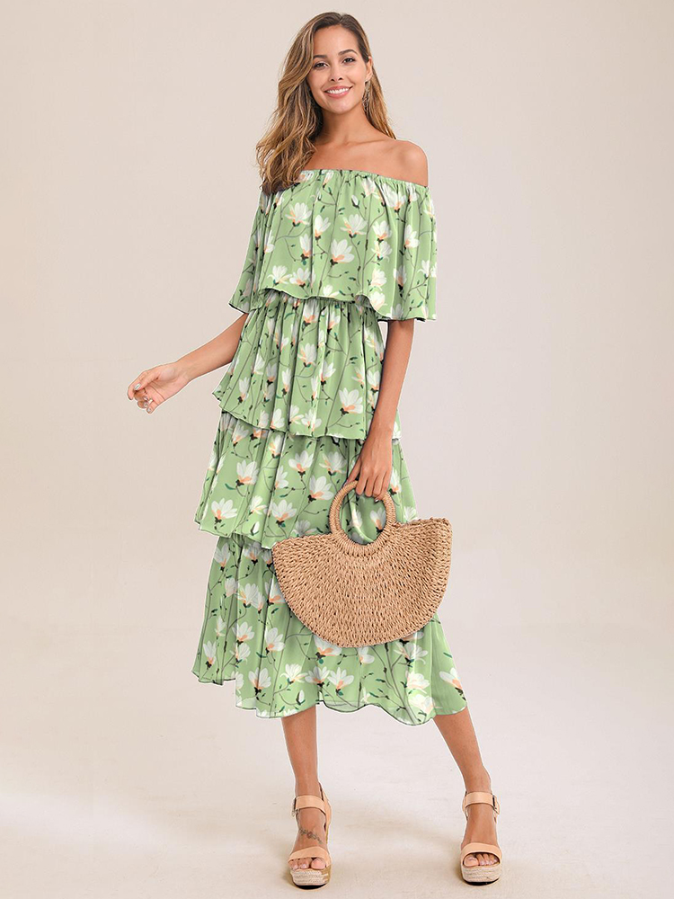 Women Off Shoulder Floral Print Summer Beach Midi Dress