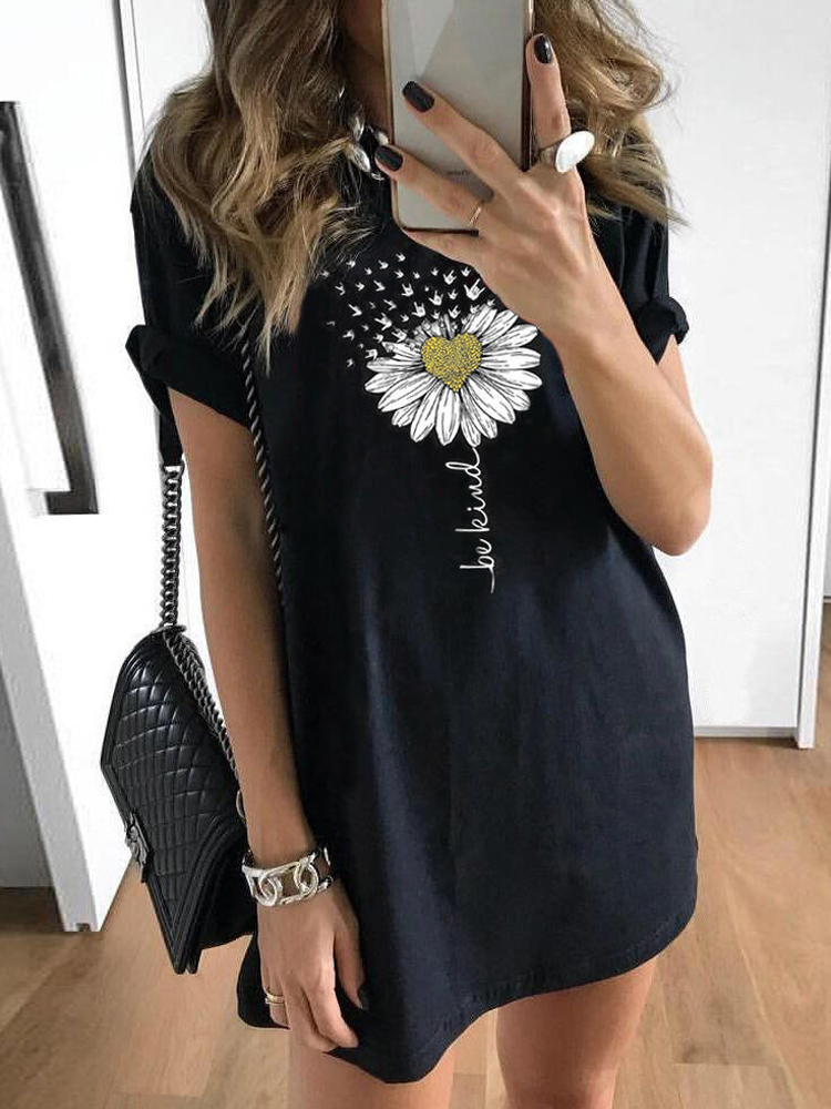 Daisy Print Black Summer Casual Loose Mini Dress