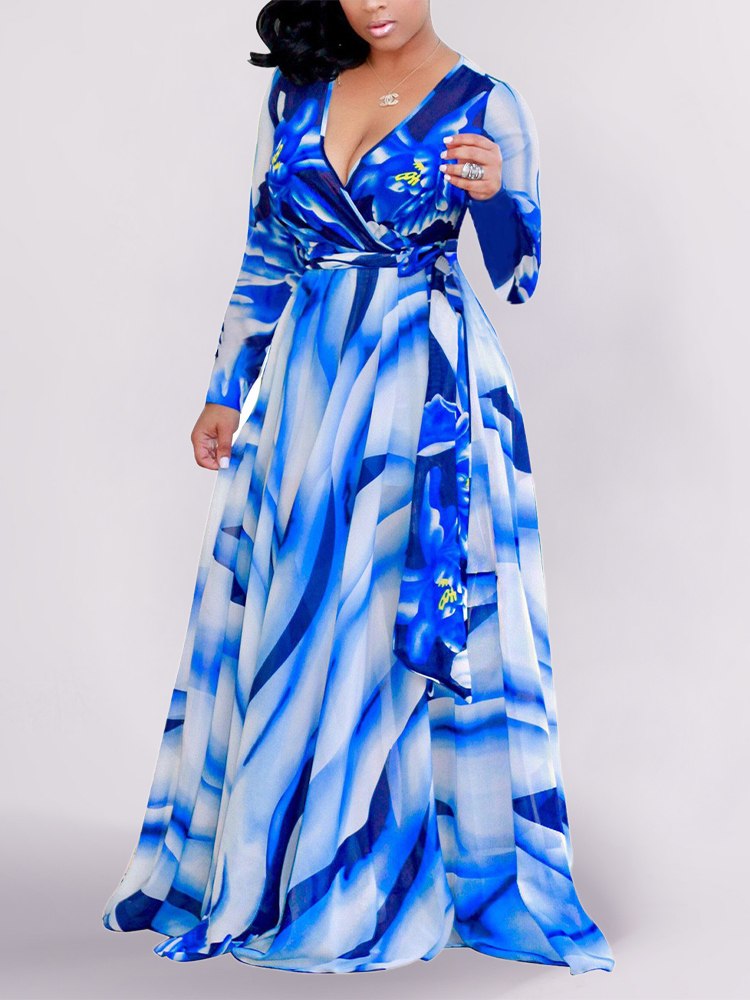 Women Floral Print V-Neck Long Sleeve Swing Maxi Dress With Belt