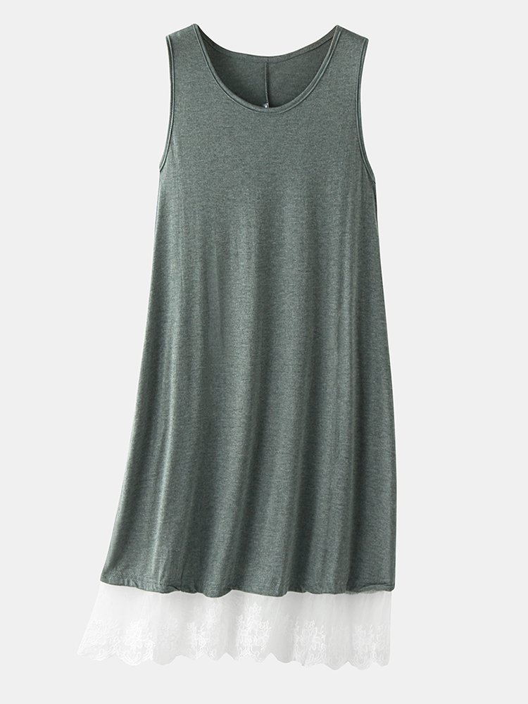 Summer Lace Patchwork Sleeveless Loungewear V-neck Daily Casual Dress