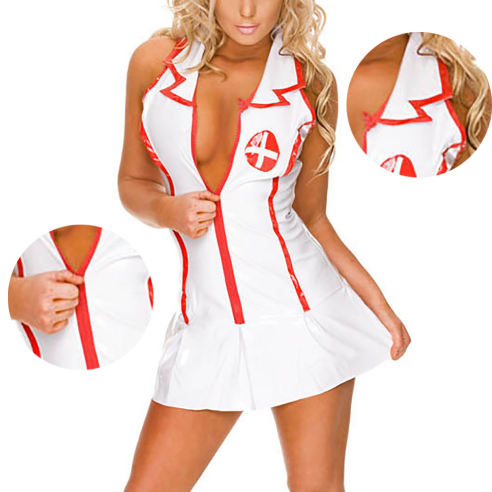 Hot Erotic Babydoll Chemises Girls Nurse Cosplay Uniform Dress Thong Hat Suit Porn Baby Doll Sexy Lingerie Maid Teddy Costume