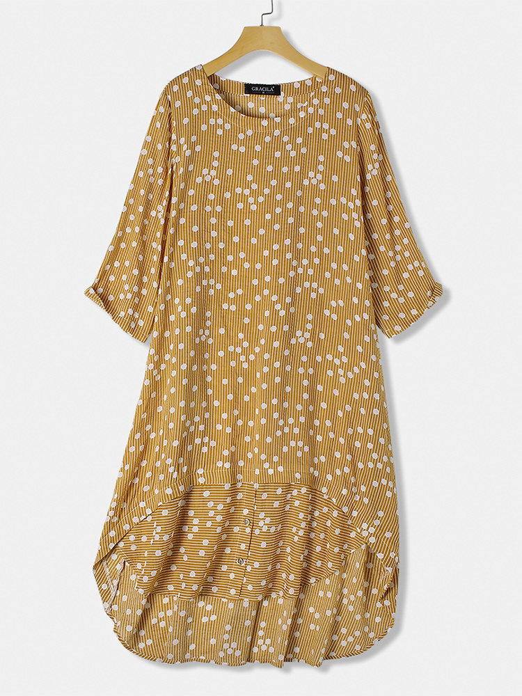 Polka Dot Print O-neck Irregular Hem Stripe Dress