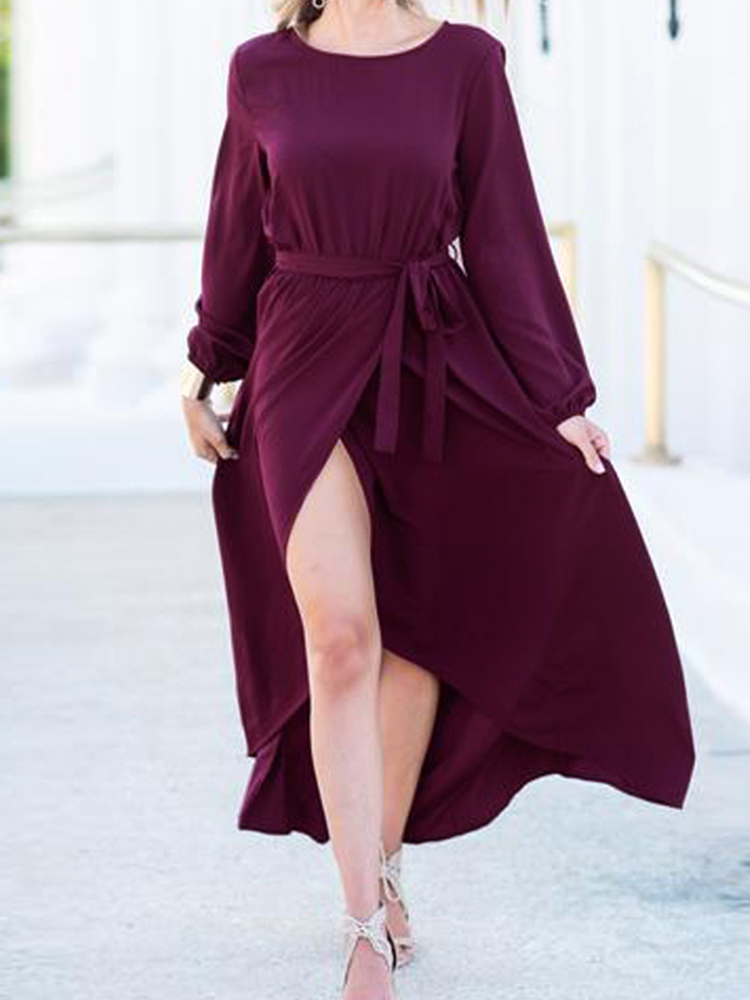 Women High Split Front Cross Irregular Hem Long Sleeve Dress