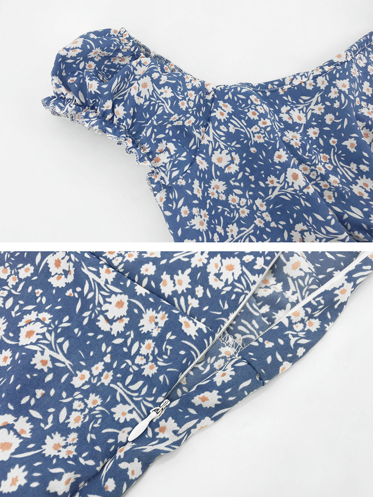 Casual Off Shoulder Floral Print Summer Holiday Midi Dress For Women