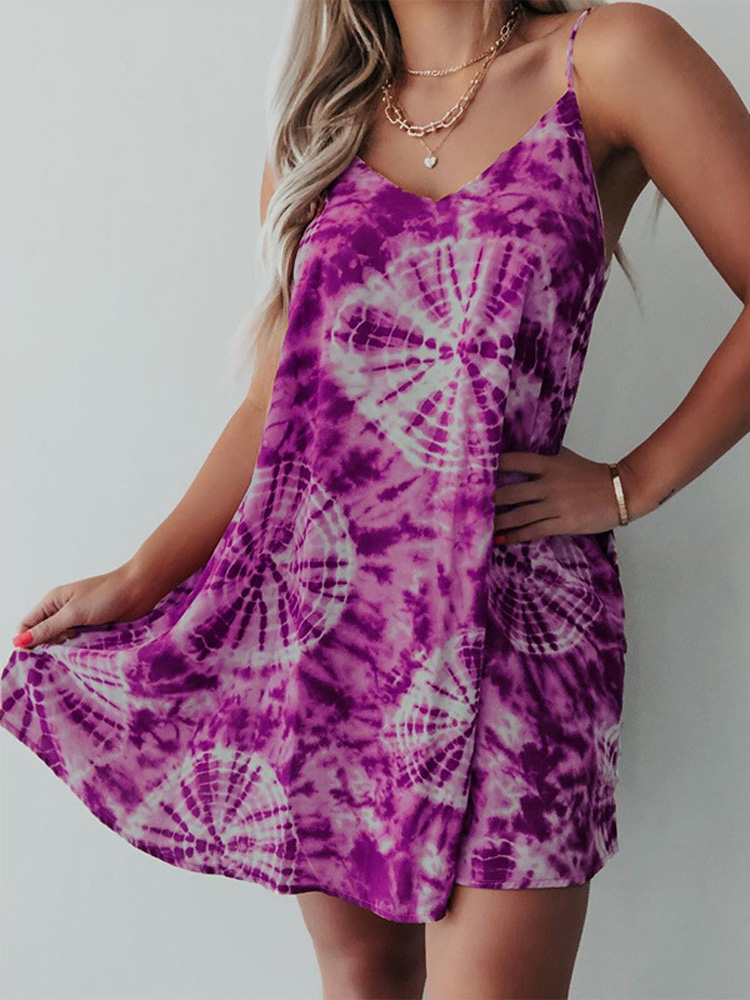 Women Holiday Tie-dye Print Sleeveless Loose Beach Sling Dress