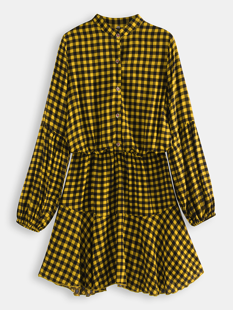 Long Sleveed Plaid Stand Collar Causal Shirt Dress For Women