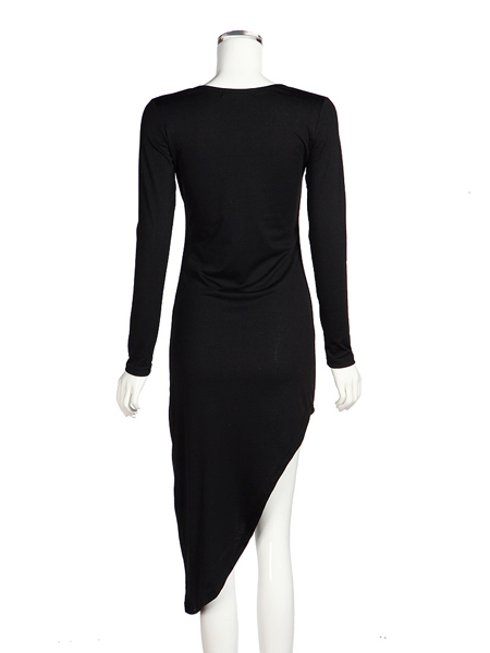 Sexy Hot Hollow Out Slit Slim Long Sleeve Cotton Evening Party Dress