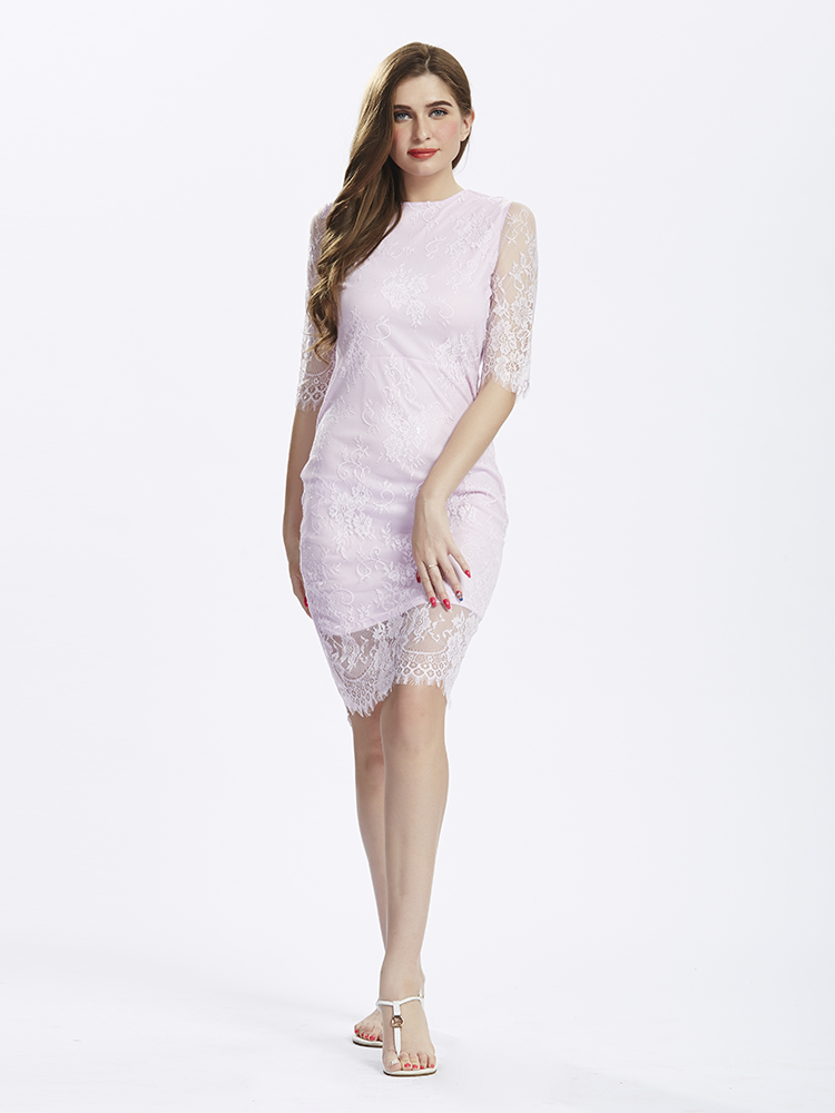 Elegant Lace Back Hollow Light Purple Half Sleeve Dresses