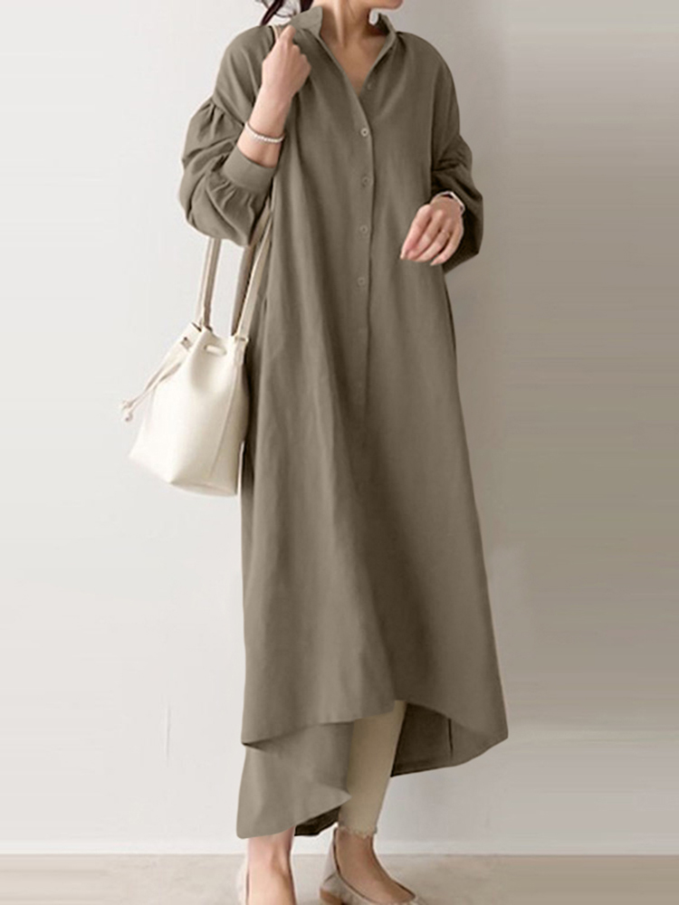 Women Casual Solid Color Cotton Puff Sleeve Drop Shoulder Loose Dress