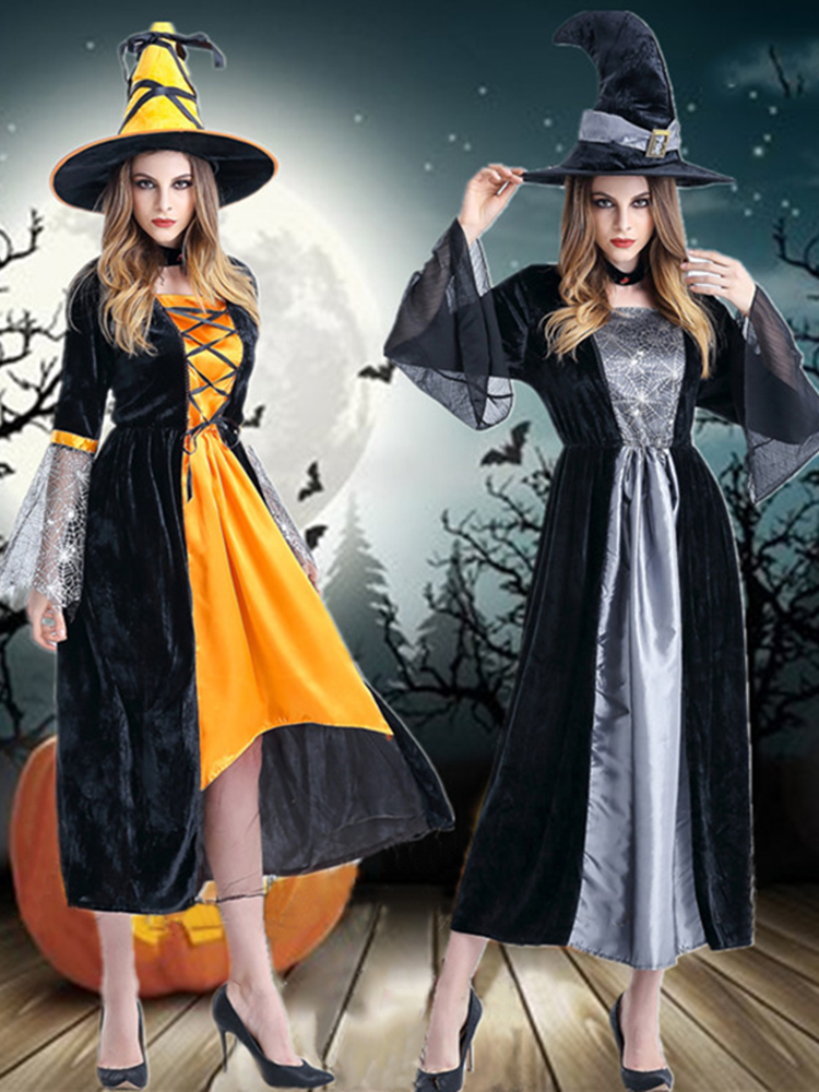 Halloween Costumes Witch Cosplay Three Pieces Party Women Clothing Role Dress