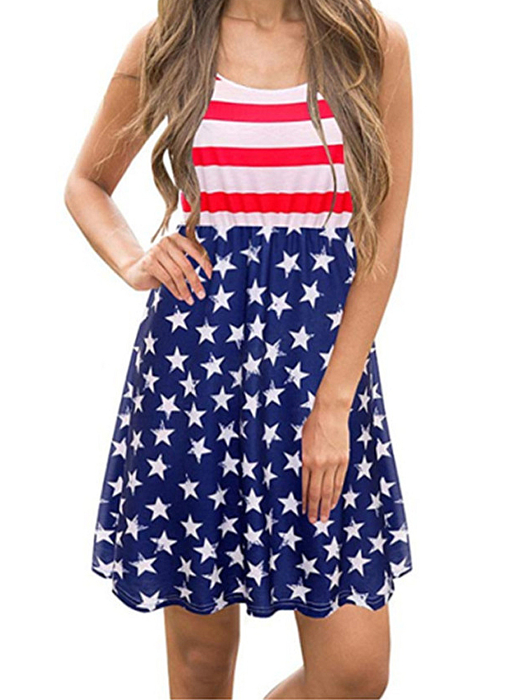 America Flag Print Independence Day Sleeveless Casual Midi Dress