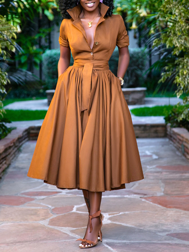 Women Solid Color Pleats Casual Shirt Dress With Sashes