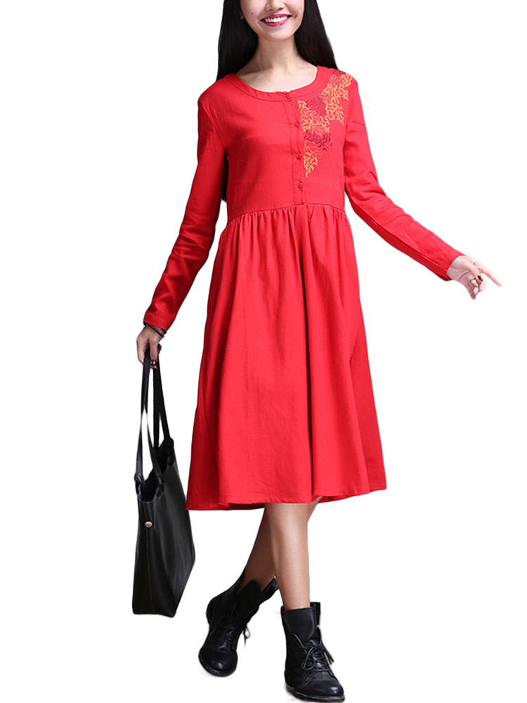 Elegant Women Solid Embroidery Pocket Button Pleated Cotton Linen Dress