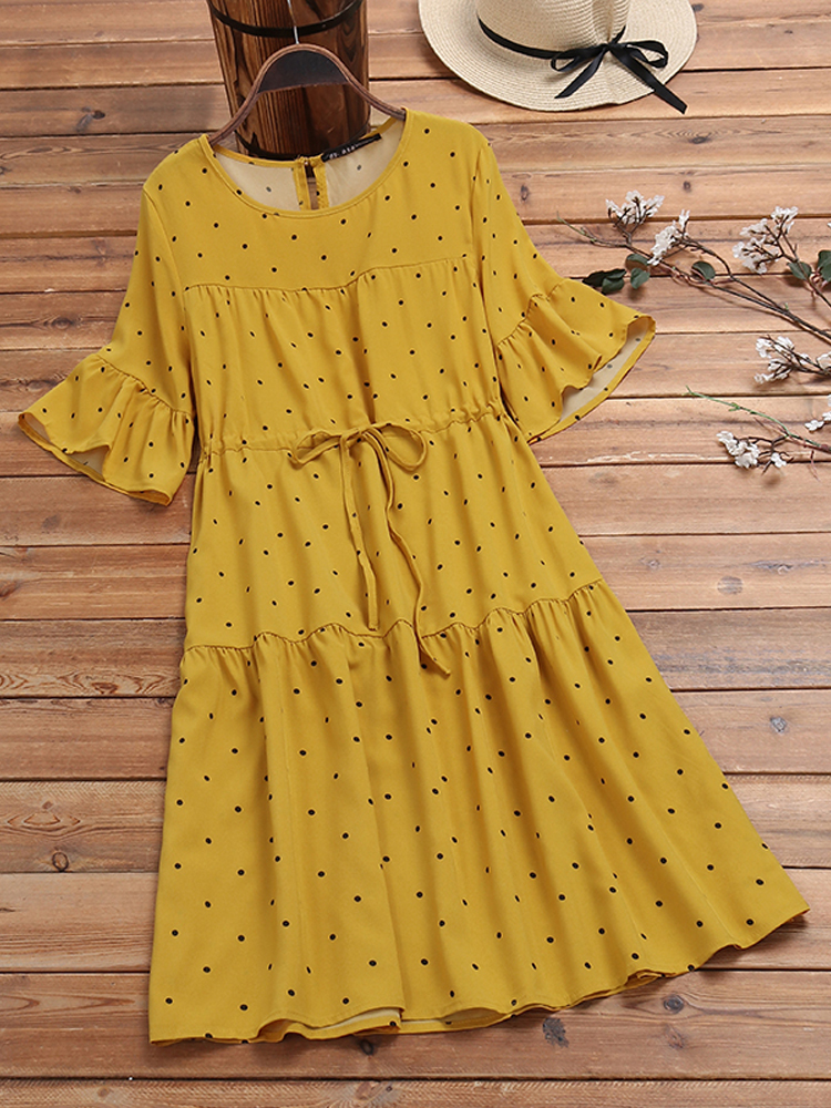 Half Sleeve Polka Dot Print Drawstring Waist Vintage Dress