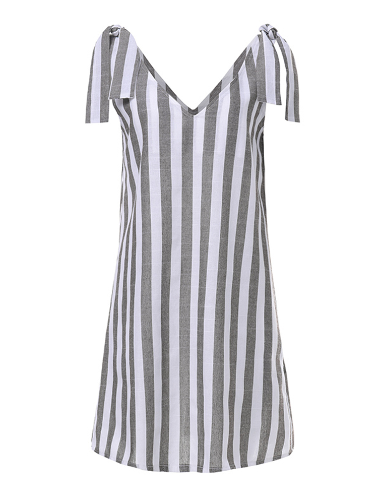 Striped Print Adjustable Shoulder Strap V-neck Casual Dress