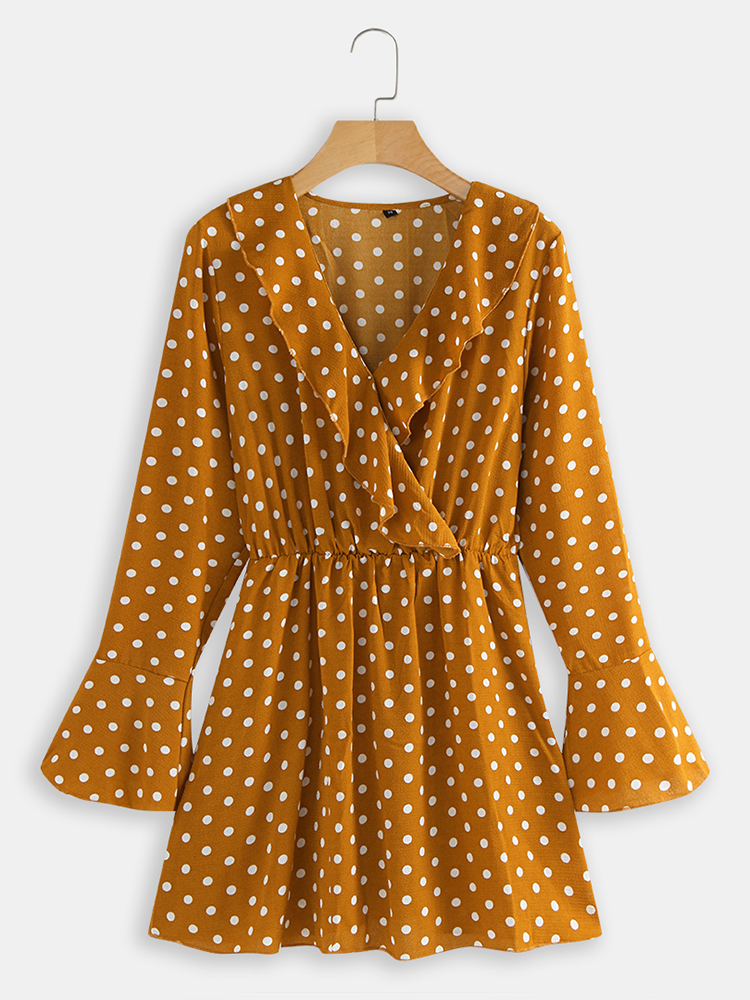 Polka Dots V-neck Long Sleeve Chiffon Mini Dress