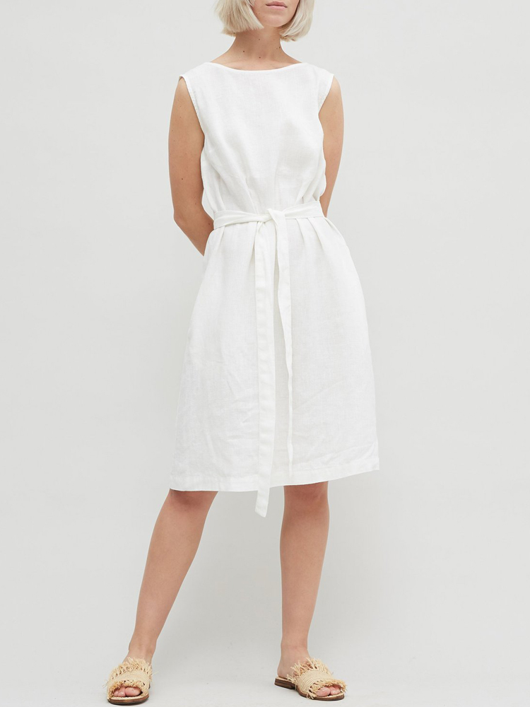 Solid Belted Sleeveless Dress