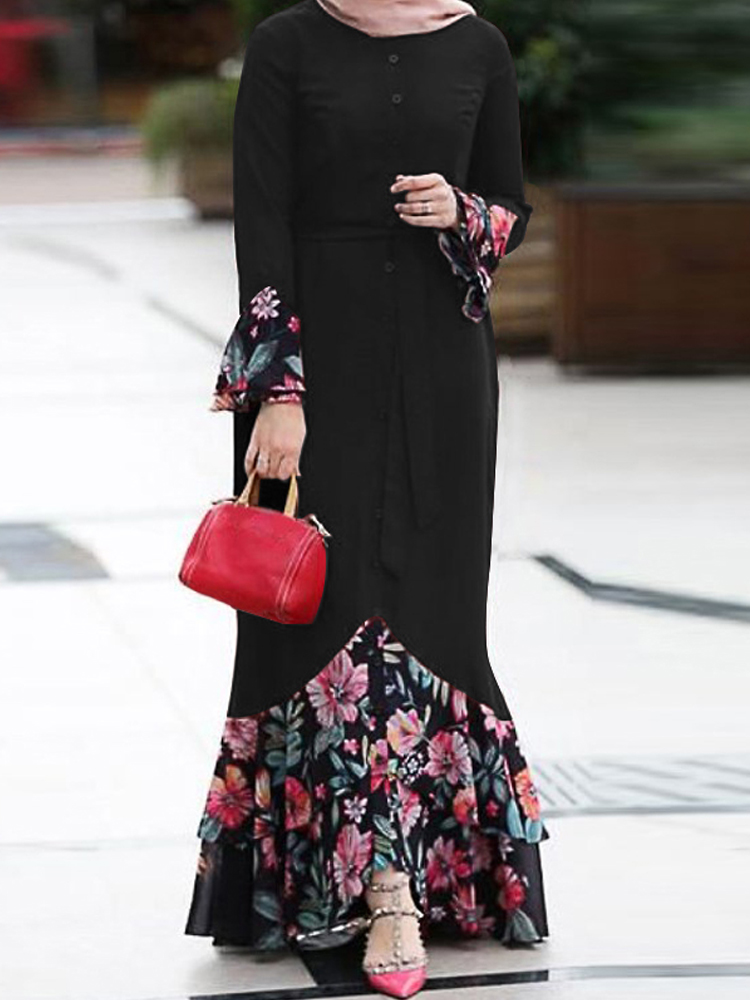 Women Floral Print Patchwork Mermaid Hem Long Sleeve Lace-Up Maxi Dress