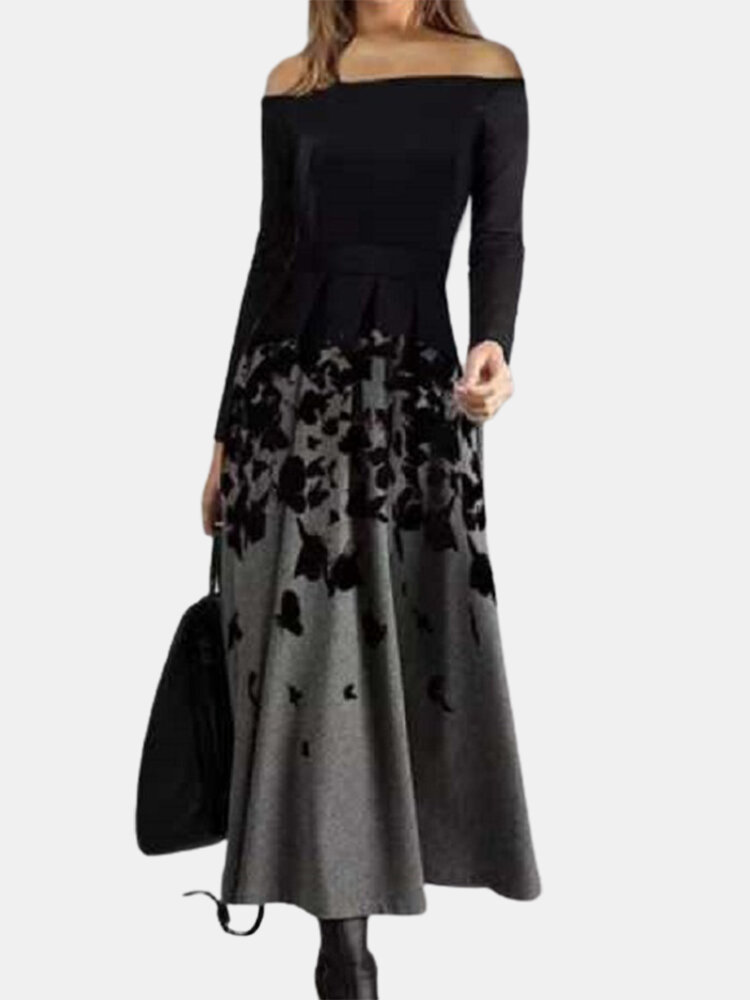 Women Off-Shoulder Abstract Print Long Sleeve Black Maxi Dresses