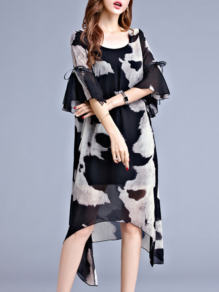 Women Chiffon Printed Flared-Sleeve Bowknot Irregular Hem Dress