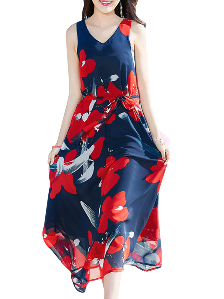 Bohemian Chiffon Women V-Neck Printed Sleeveless Maxi Dress