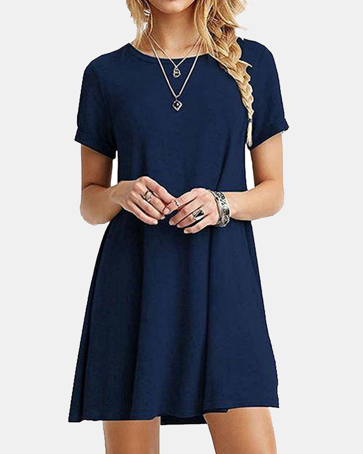 Short Sleeve Casual Loose O-neck Summer Mini Dress For Women