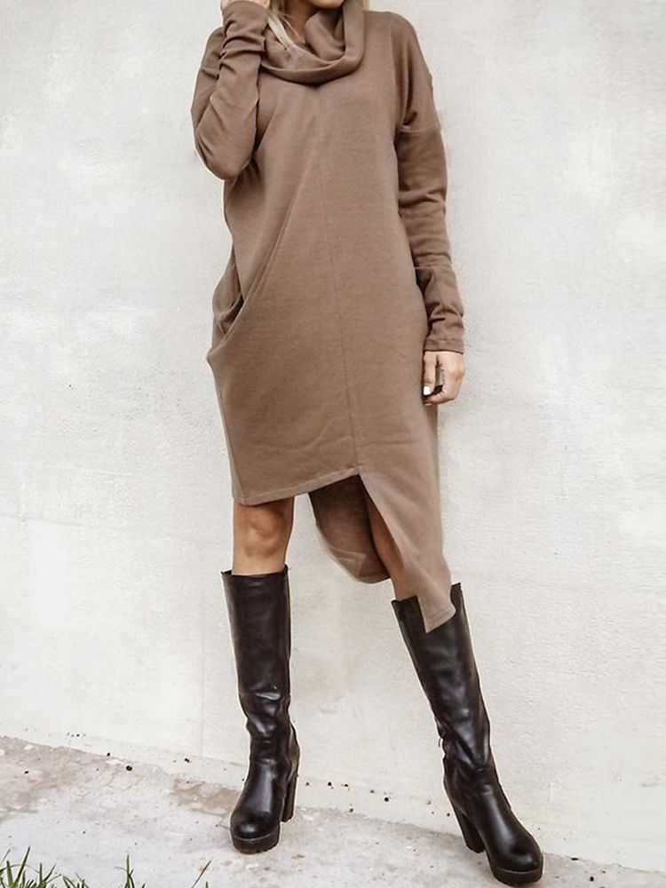 Solid Color High Collar Long Sleeve Irregular Casual Mid-long Dress