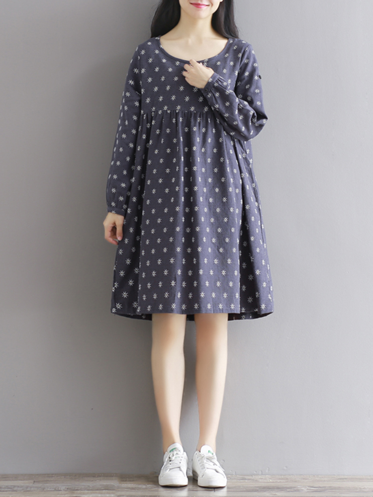 Mori Girl Casual Long Sleeve Flower Printed O-Neck Dress with Pockets